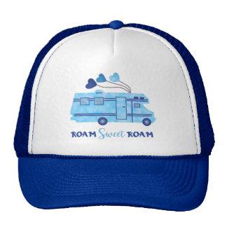RV Camper Motorhome Vacation Blue Roam Sweet Roam Cap