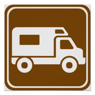 RV Campground Highway Sign Poster