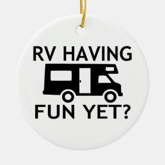 RV Having Fun Yet Funny Wordplay Christmas Ornament