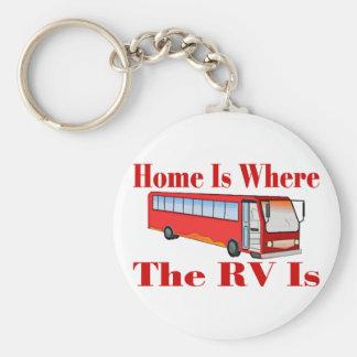 RV Home Basic Round Button Key Ring
