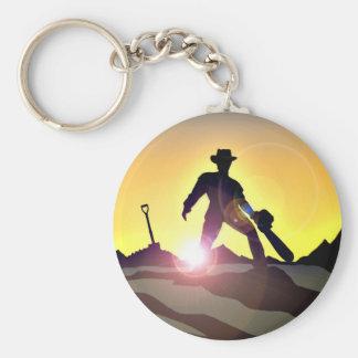 RWAC: Cowboy Chainsaw Spade Basic Round Button Key Ring