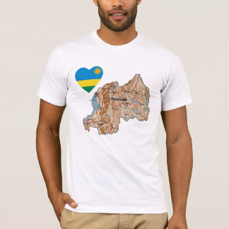 Rwanda Flag Heart and Map T-Shirt