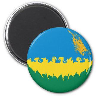 Rwanda Gnarly Flag Refrigerator Magnets
