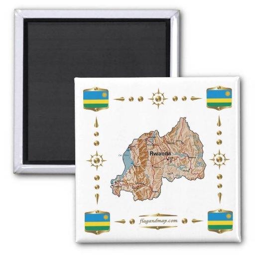 Rwanda Map + Flags Magnet