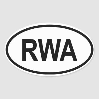 """Rwanda """"RWA"""" Oval Sticker"""