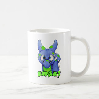 RWAR? (Blue) Cute baby dragon roaring Basic White Mug