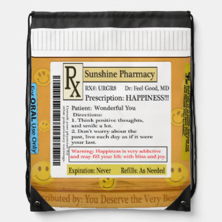 RX Prescription for Happiness Drawstring Bag