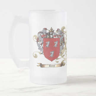Ryan Coat of Arms 16 Oz Frosted Glass Beer Mug