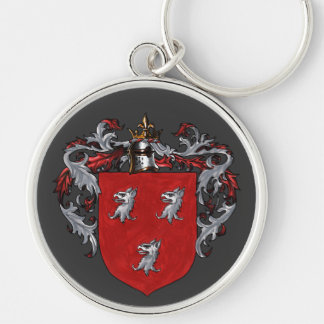 Ryan Coat of Arms Silver-Colored Round Key Ring