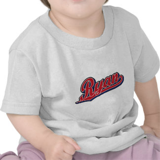 Ryan Deluxe Red on Blue Script Logo T Shirt