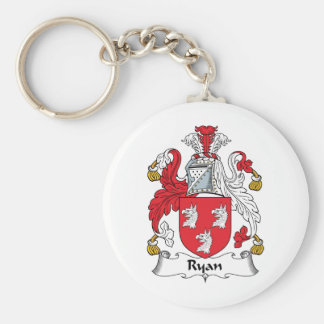 Ryan Family Crest Basic Round Button Key Ring