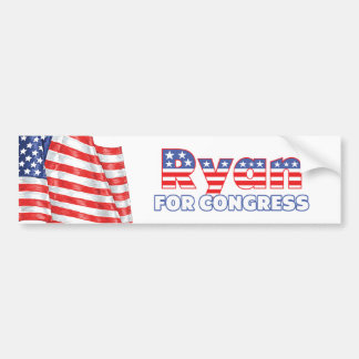 Ryan for Congress Patriotic American Flag Bumper Sticker