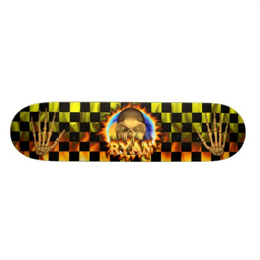 Ryan skull real fire and flames skateboard design