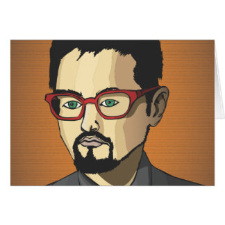 Ryan with red glasses. greeting card
