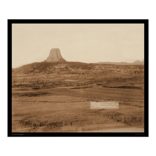 Ryan's Ranch & Distant View Devil's Tower WY 1890 Poster