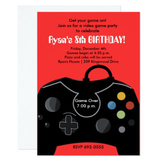 RYAN'S VIDEO GAME PARTY CARD