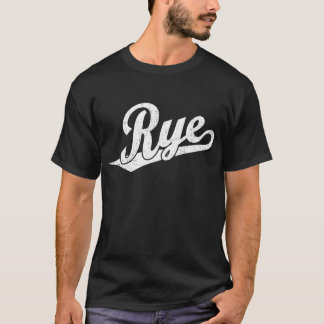 Rye script logo in white distressed T-Shirt