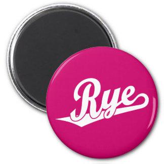Rye script logo in white magnet