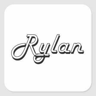 Rylan Classic Retro Name Design Square Sticker