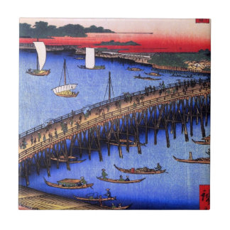 Ryōgoku Bridge and the Great Riverbank (両国橋大川ばた) Small Square Tile