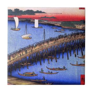 Ryōgoku Bridge and the Great Riverbank (両国橋大川ばた) Tile