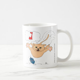 s10 Cat pouncing on Hanukkah Dradle (gimel) Basic White Mug