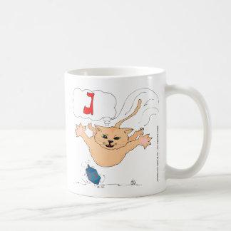 s10 Cat pouncing on Hanukkah Dradle (gimel) Coffee Mug