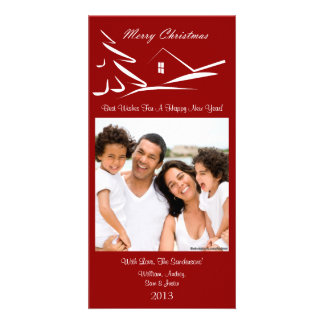 S3 Simple Beauty-Xmas Red Holiday Photo Cards