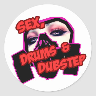 S3X DRUMS and DUBSTEP Classic Round Sticker