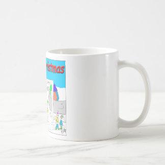 s5 Santa and TSA cartoon - Merry Christmas Cartoon Basic White Mug