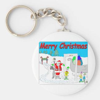 s5 Santa and TSA cartoon - Merry Christmas Cartoon Keychain