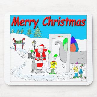s5 Santa and TSA cartoon - Merry Christmas Cartoon Mouse Pad