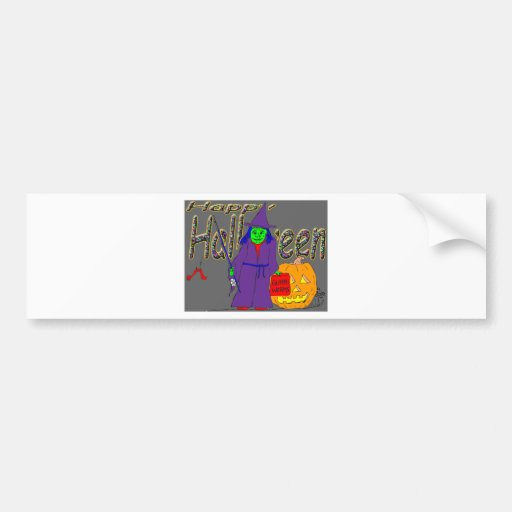 s8 Halloween witch fishing with gummi worms Car Bumper Sticker