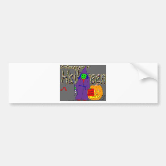 s8 Halloween witch fishing with gummi worms Bumper Sticker