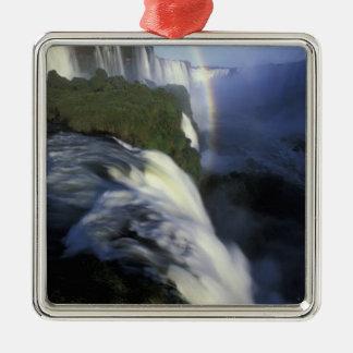 S.A., Brazil, Iguassu Falls Falls with rainbow Silver-Colored Square Decoration