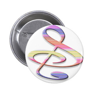 """S"", ""&"", And/Or Treble Clef Musical Note 6 Cm Round Badge"