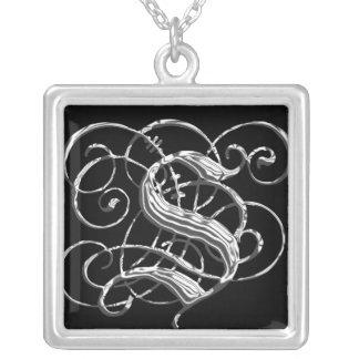 S Black Silver Monogram Initial Pendant S