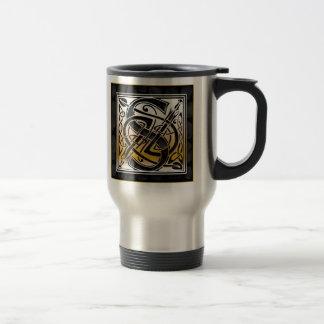 "S ""Celtic Black Stone"" Monogram Travel Mugs"