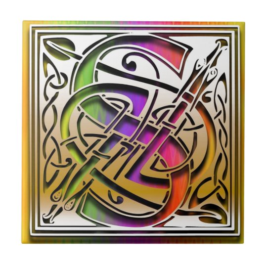 S Celtic Rainbow Custom Monogram Tile