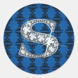 """S"" Diamond Bling on Damask Sticker"