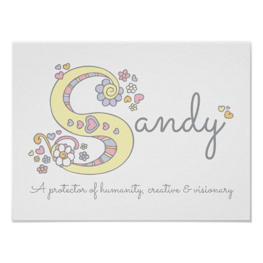 S for Sandy monogram letter art name meaning