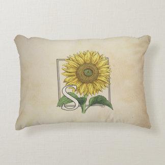 S for Sunflower Floral Alphabet Monogram Decorative Cushion
