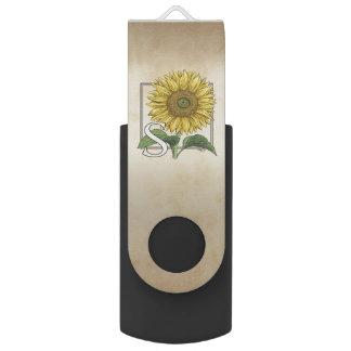 S for Sunflower Floral Alphabet Monogram Swivel USB 2.0 Flash Drive