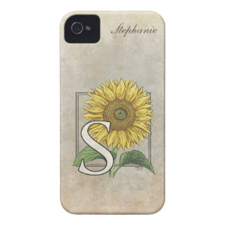 S for Sunflower Floral Monogram Case-Mate iPhone 4 Case