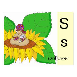 S for Sunflower Postcard