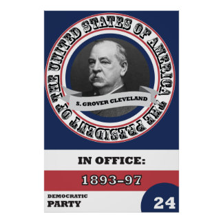 S. Grover Cleveland Presidential History Retro Poster