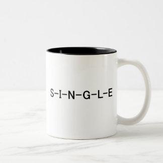 S-I-N-G-L-E T-shirts and Gifts Two-Tone Mug