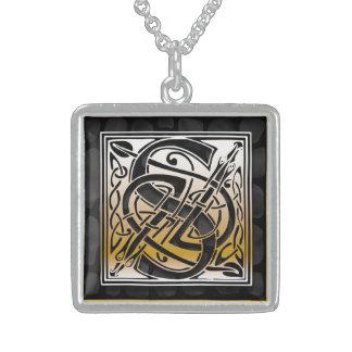 "S Initial Monogram ""Celtic Black Stone"" Necklaces Custom Necklace"