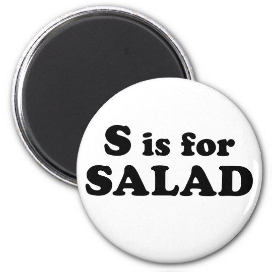 S is for SALAD (magnet) 6 Cm Round Magnet