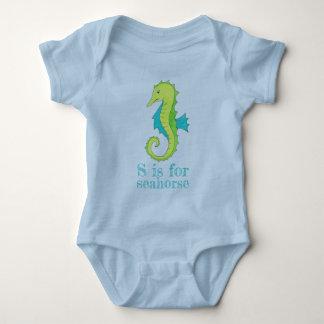 S is for Seahorse Sea Horse Blue Green Beach Ocean Baby Bodysuit